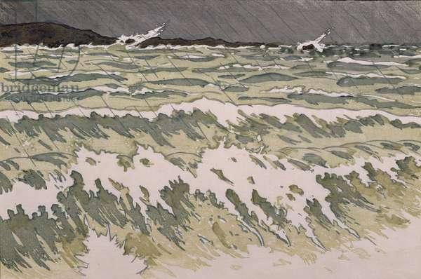 Rain on the Sea (w/c on paper)