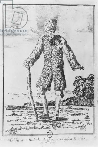 Voltaire in Ferney: 'The sick old man of Fernex as we saw him in September 1777' (engraving)