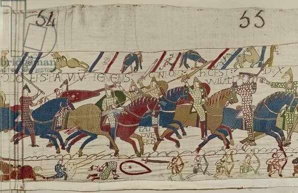 Bishop Odo Urges on the Young Soldiers, Bayeux Tapestry (wool embroidery on linen)