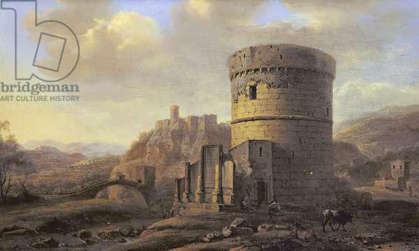 Roman Landscape: The Tomb of Cecilia Metella (oil on panel)