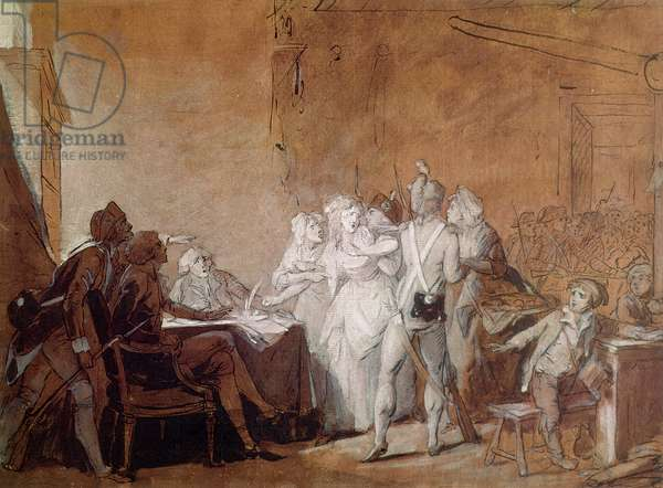 The Arrest of Charlotte Corday (pen & ink and w/c on paper)