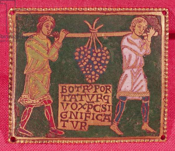 Plaque from a cross depicting two men carrying the grapes of the promised land, Mosane School (champleve enamelwork)