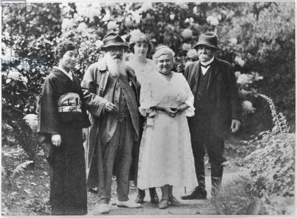 Madame Kuroki, Claude Monet (1840-1926), Alice Butler (1894-1949), Blanche Hoschede-Monet and Georges Clemenceau (1841-1929) in the Garden at Giverny (b/w photo)