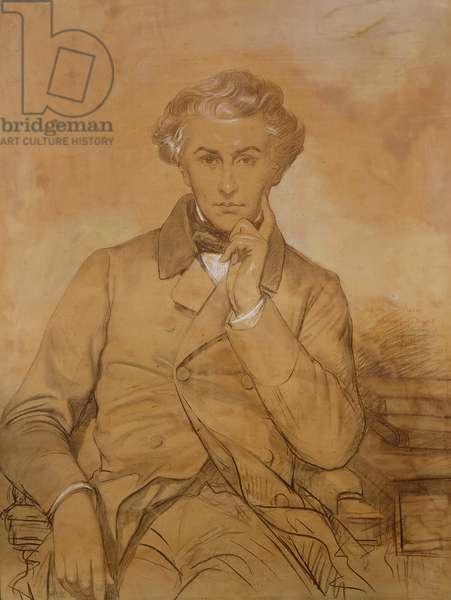 Portrait of Henri Reber (1807-80) (pencil & white chalk on paper)