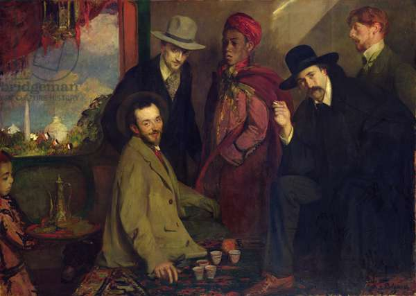 Andre Gide (1869-1951) and his Friends at the Cafe Maure of the Exposition Universelle of 1900, 1901 (oil on canvas)