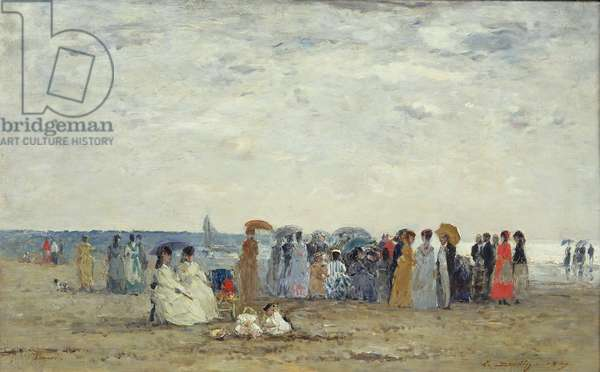 Swimmers on Trouville beach, 1869 (oil on wood)