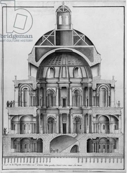 Basilica Saint-Denis, the Valois Tower (engraving) (see also 414688, 414689)