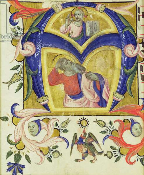 Initial 'A' depicting Jesus Christ and a saint, early 14th (vellum)