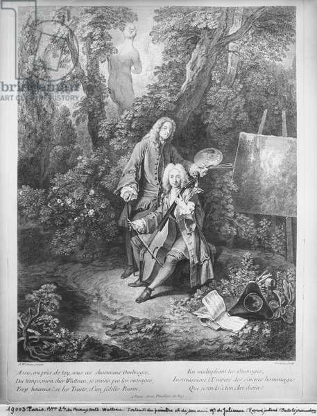 Jean Antoine Watteau and his friend Monsieur de Julienne, engraved by Nicolas Henri Tardieu (1674-1749) (engraving)