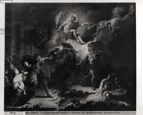 Laemedon Punished by Apollo and Poseidon, 1707 (oil on canvas) (b/w photo)