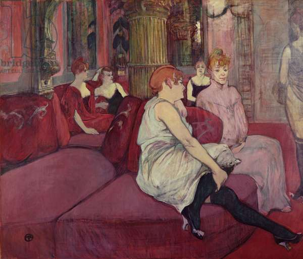 In the Salon at the Rue des Moulins, 1894 (charcoal & oil on canvas)