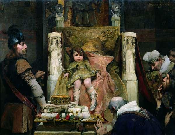 Homage to Clovis II (635-657) (oil on canvas)