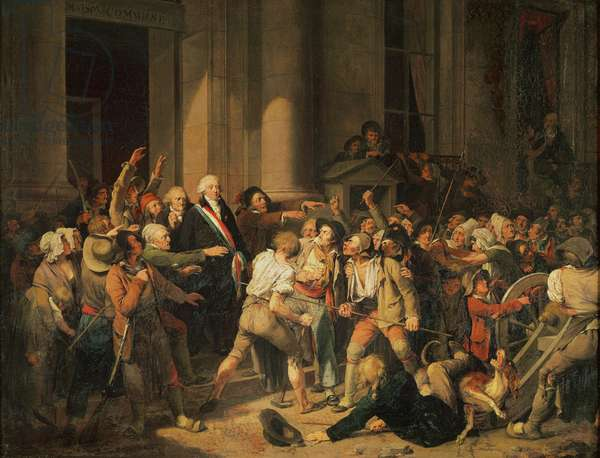 Act of Courage of Monsieur Defontenay, Mayor of Rouen, 29th August 1792 (oil on canvas)