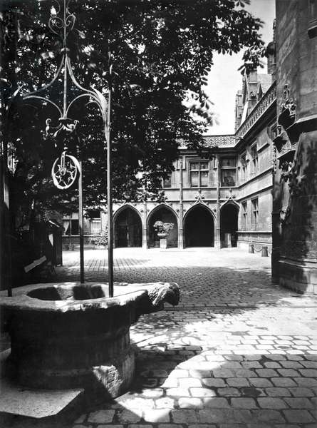 Cluny Hotel seen from the courtyard, Paris (b/w photo)