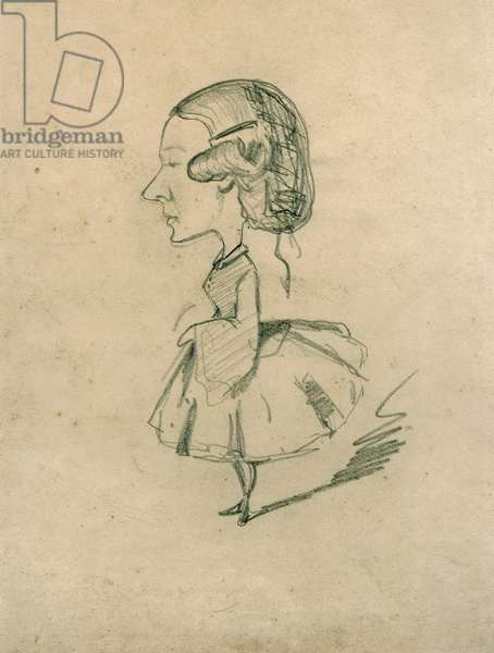 Young girl in profile with a sharp nose, c.1858 (pencil on paper)