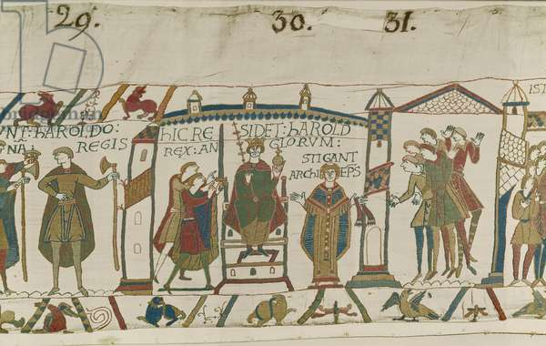 Coronation of Harold as English King, Bayeux Tapestry (wool embroidery on linen)