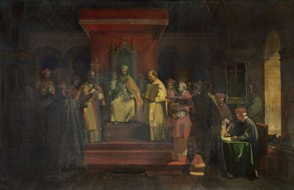 Institution of the Order of the Templars in 1128, 1840 (oil on canvas)
