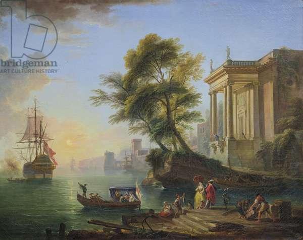 Marina, sunset (oil on canvas)