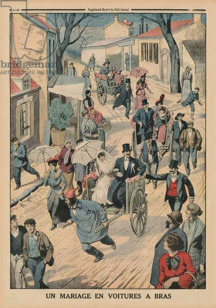 A wedding on handcarts, back cover illustration from 'Le Petit Journal', supplement illustre, 5th April 1914 (colour litho)