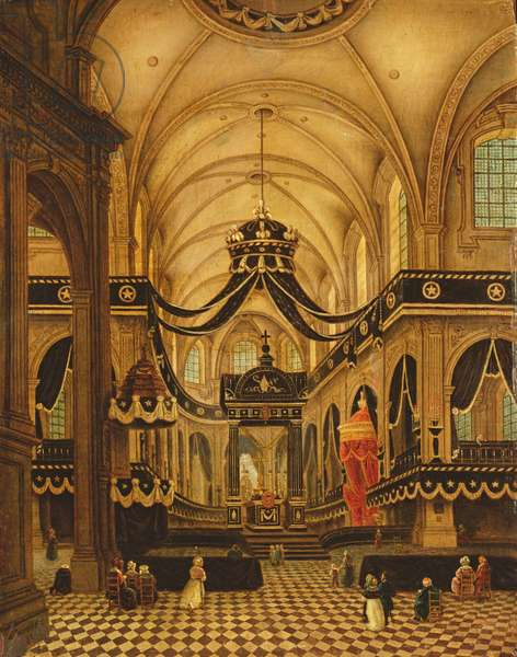 Funeral of Louis Belmas at Cambrai Cathedral (oil on canvas)