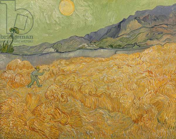 Wheatfield with Reaper, 1889 (oil on canvas)