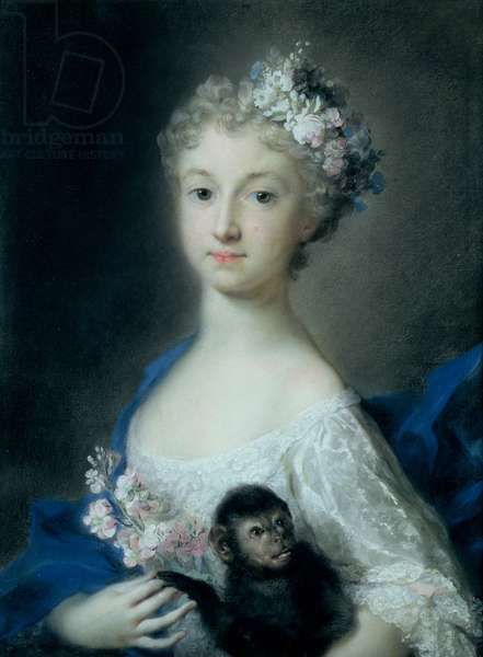Girl holding a monkey (pastel)