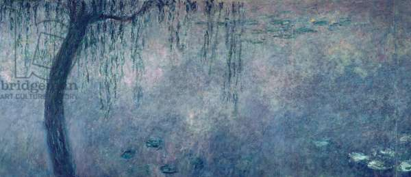 Waterlilies: Two Weeping Willows, left section, c.1915-26 (oil on canvas)  (see also 75701-03)