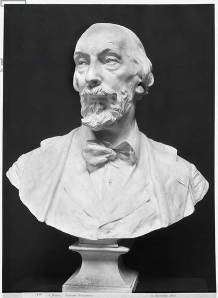 Bust of Auguste Vacquerie (1819-95) (plaster) (b/w photo)