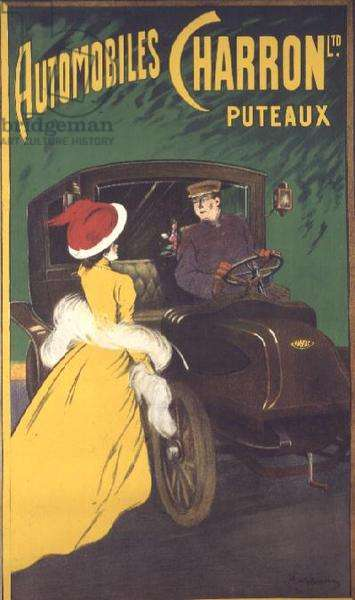 Poster advertising 'Automobiles Charron at Puteaux' (litho)