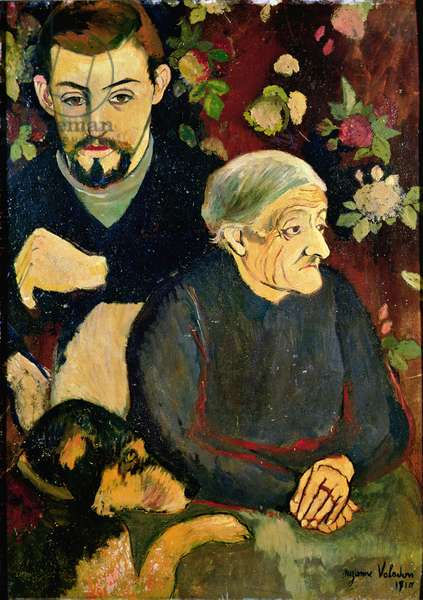 Portrait of Maurice Utrillo (1883-1955), his Grandmother and his Dog, 1910 (oil on canvas)