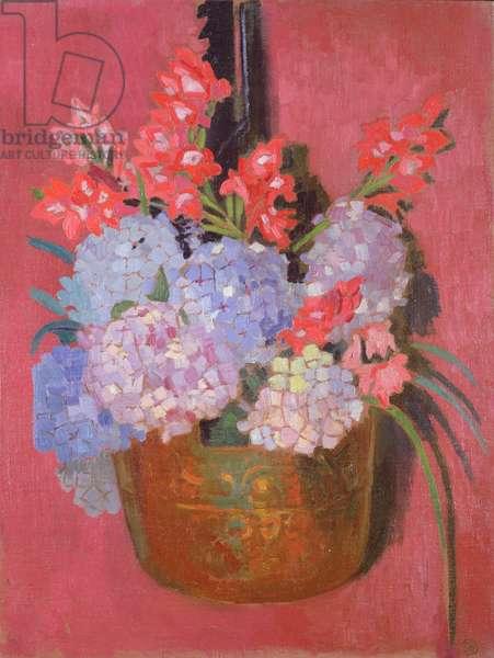 Copper cauldron with hydrangeas, 1916 (oil on canvas)