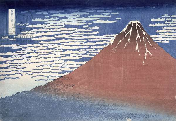 Fine weather with South wind, from 'Fugaku sanjurokkei' (Thirty-Six Views of Mount Fuji) c.1831 (colour woodblock print)