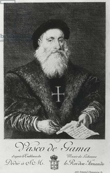 Portrait of Vasco da Gama (1469-1524) (engraving) (b/w photo)