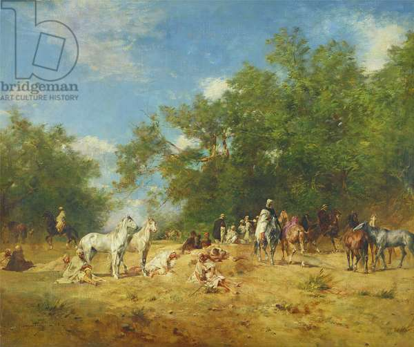 Arab Horsemen Resting in the Forest, 1868 (oil on canvas)