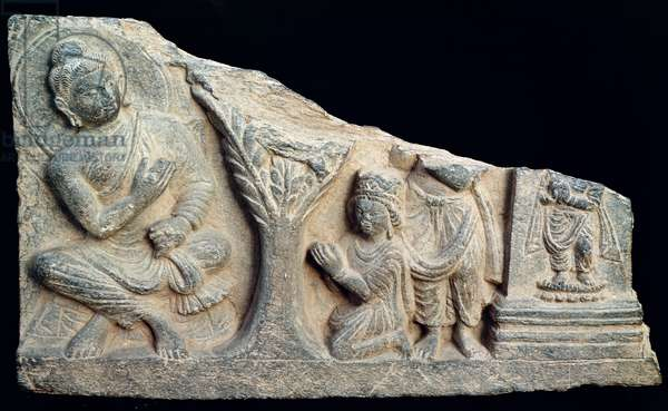 Detail of a relief frieze depicting a seated Buddha with orants, Greco-Buddhist style, from Taxila, Pakistan, 1st-4th century (stone)