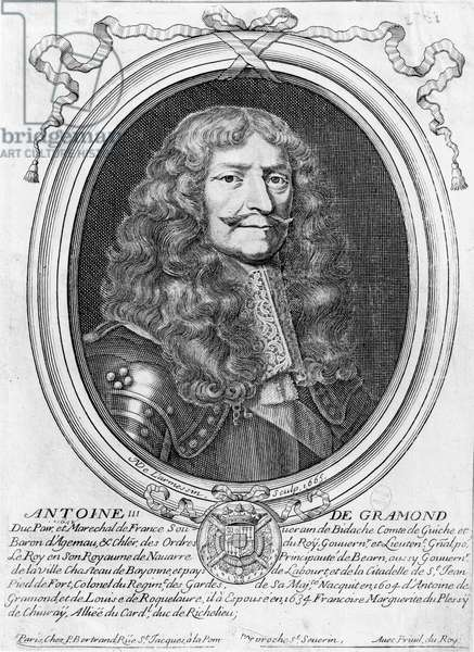 Portrait of Antoine III de Gramont (1604-78) 1665 (engraving) (b/w photo)