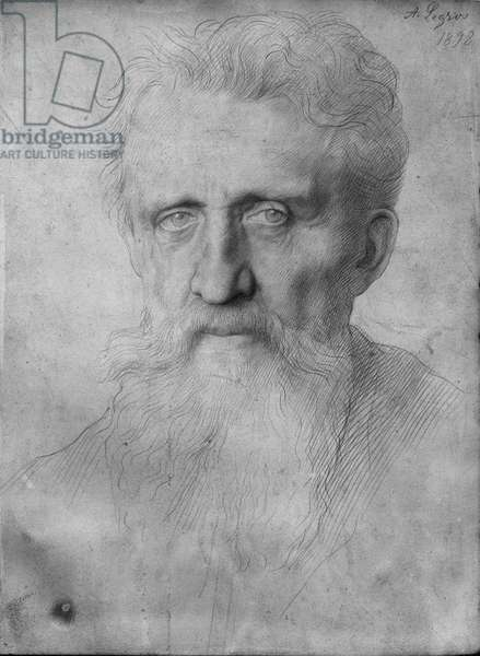 Head of a man with long beard, 1898 (silverpoint on white cardboard)