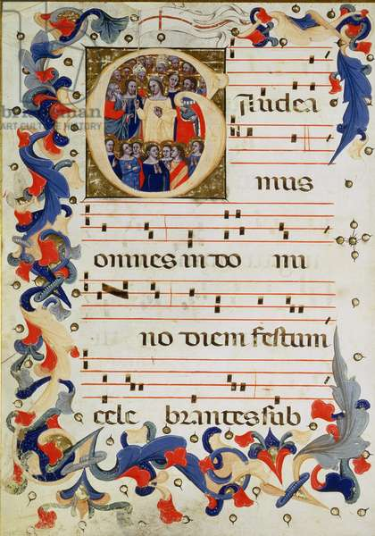 Page of musical notation with a historiated initial 'G' depicting a group of saints with St. Ursula in the middle, Bolognese School (vellum)