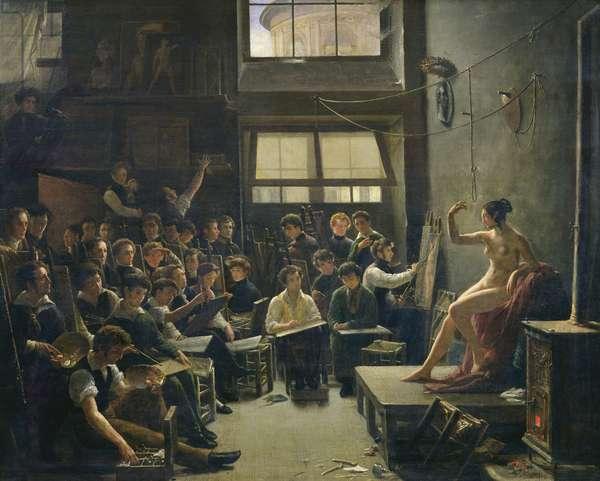 The Studio of Baron Antoine Jean Gros (1771-1835) (oil on canvas)