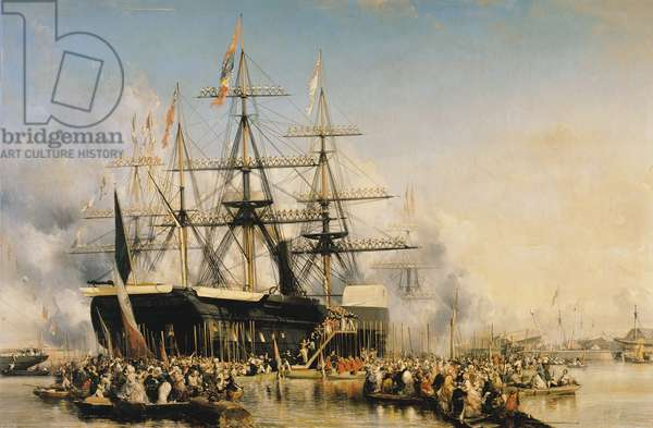 King Louis-Philippe (1830-48) Disembarking at Portsmouth, 8th October 1844, 1846 (oil on canvas)