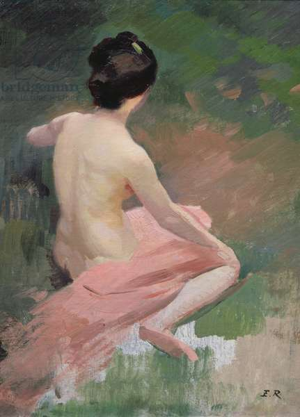 Female Nude (seated seen from the back) (oil on canvas)