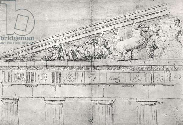 Study of a pediment from the Parthenon (pencil on paper) (b/w photo)