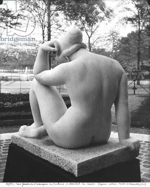 Mediterranean, or Thought, seen from behind, 1923 (see also 253097) (marble) (b/w photo)