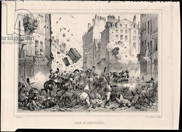 Rue Saint-Antoine in July 1830, engraved by H. Delaporte (litho)