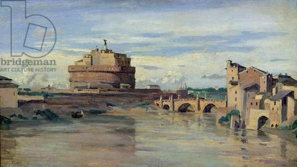 Castel Sant' Angelo and the River Tiber, Rome (oil on paper)