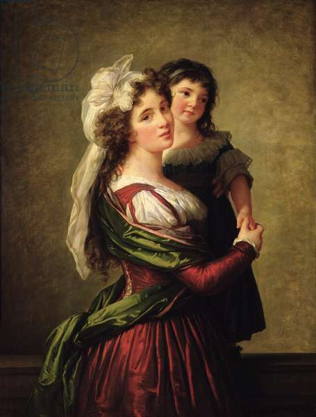 Madame Rousseau and her Daughter, 1789 (oil on canvas)