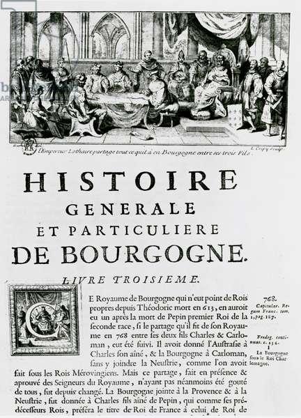 Frontispiece of 'Histoire de Bourgogne', depicting the emperor Lothair (engraving)