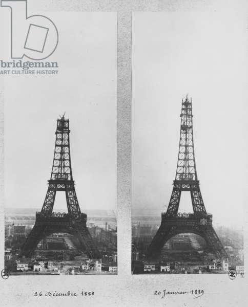 Two views of the construction of the Eiffel Tower, Paris, 26th December 1888 and 20th January 1889 (b/w photo)