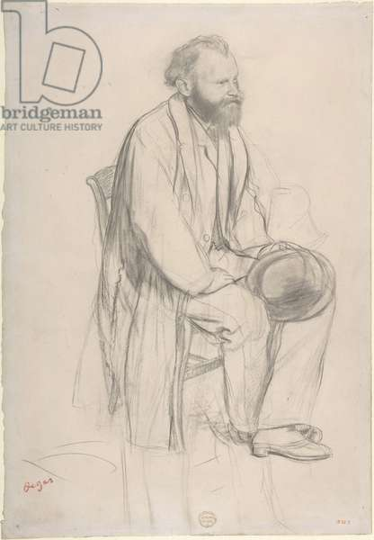 Édouard Manet seated, holding his hat, c.1865 (graphite and black chalk on paper)