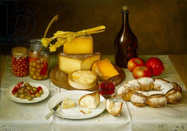 Table of Bread, Cheese, Olives and Wine, 1992 (oil on canvas)